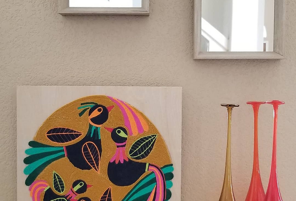 Handmade Original Yarn Painting - Black Birds