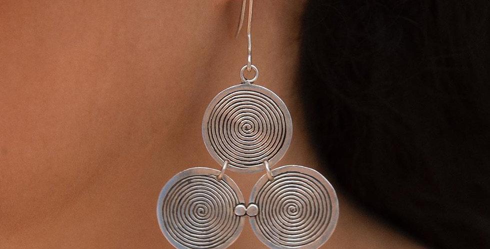 Handmade Silver Triple Spiral Earrings