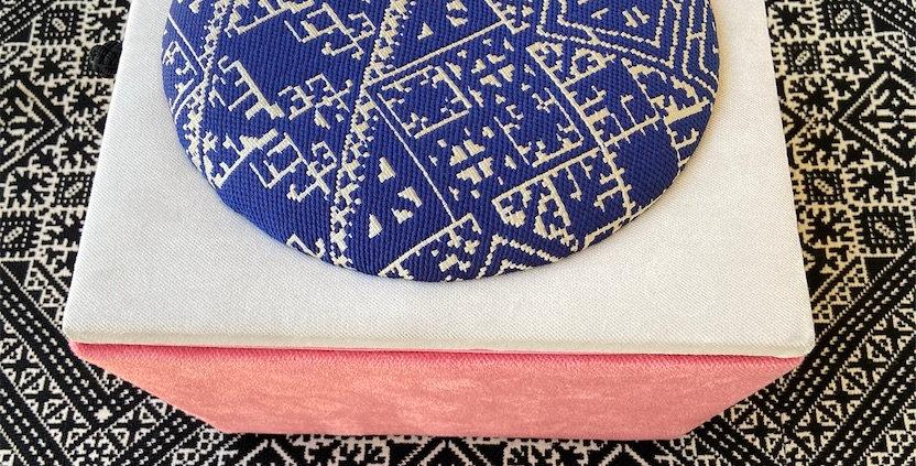Handmade Moroccan Jewelry Box - Pink & Off-White