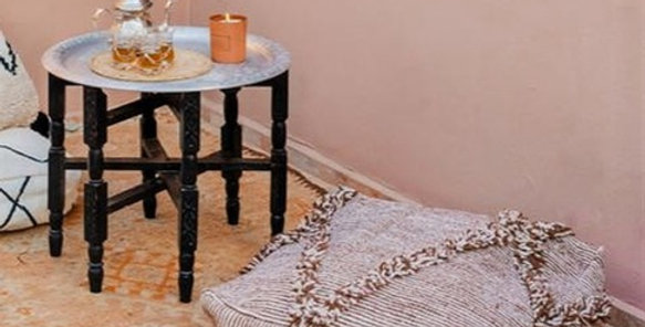 Handmade Moroccan Brown & White Pouf