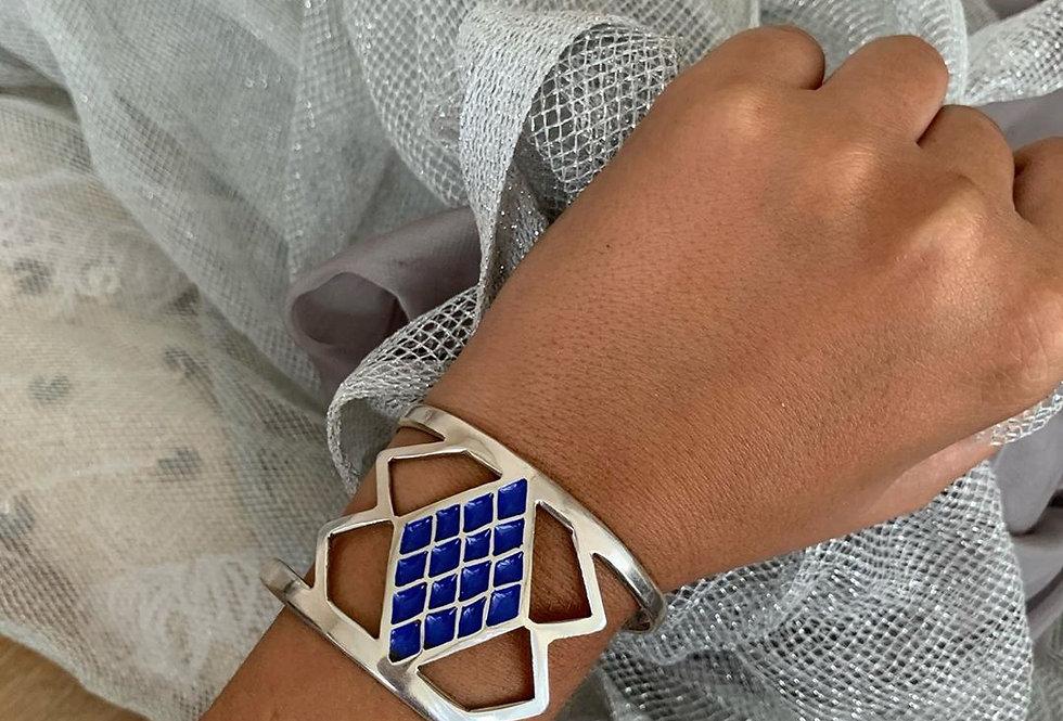 Handmade Deep Blue Diamond Cuff Bracelet