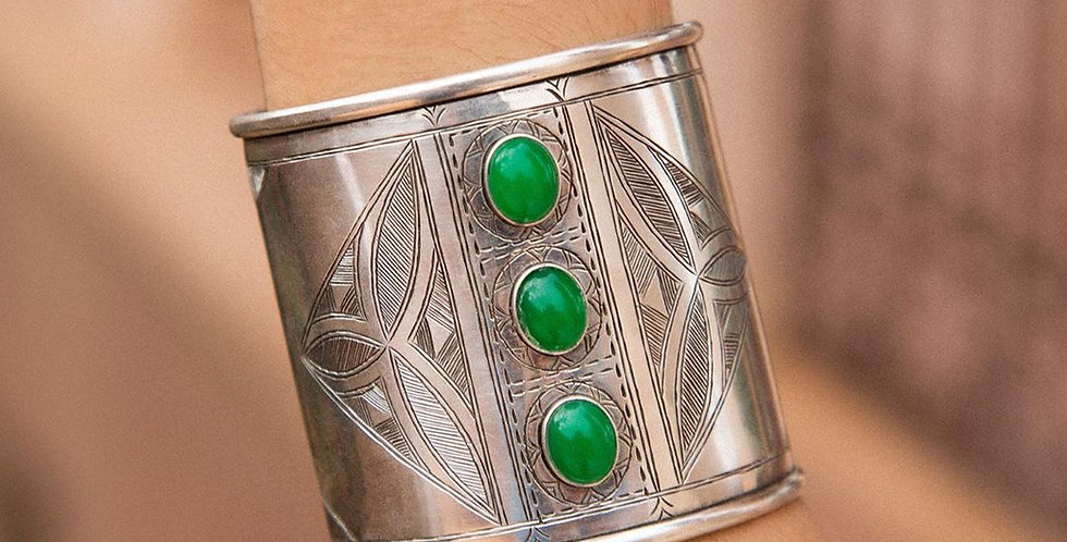 Handmade Authentic Moroccan Cuff Bracelet with Green Stones