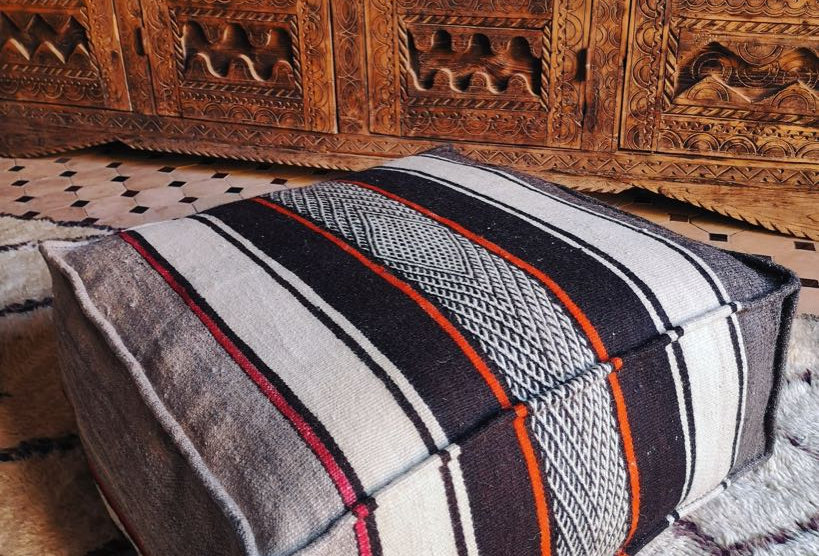 Handwoven Berber Zanafi Floor Pillow - Orange Stripes