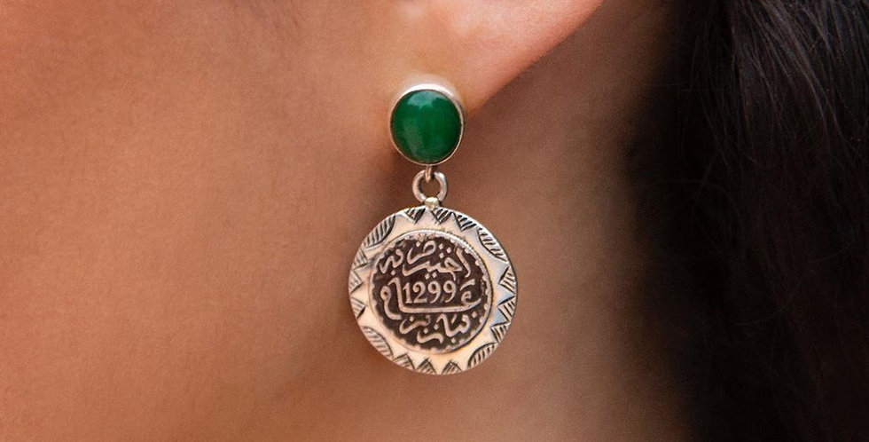 Handmade Green Stone and Silver Authentic Moroccan Coin Earrings