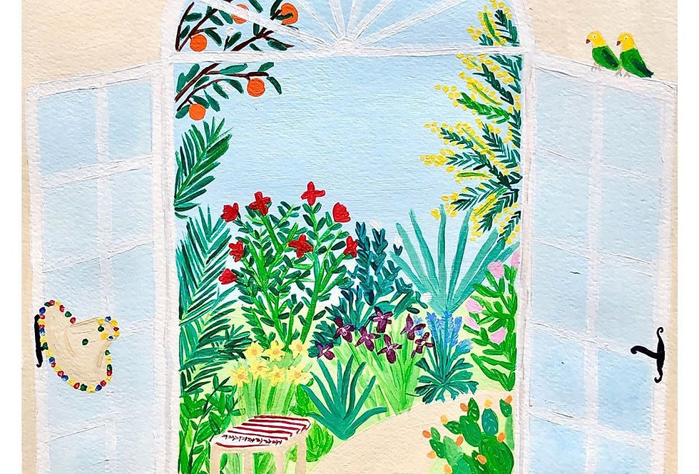 Original Moroccan Acrylic Print - Mediterranean Garden