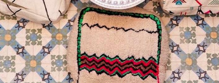Handmade Moroccan Colorful Rug Pouf