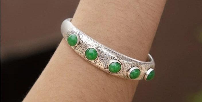 Handmade Authentic Moroccan Bangle Bracelet with Green Stones