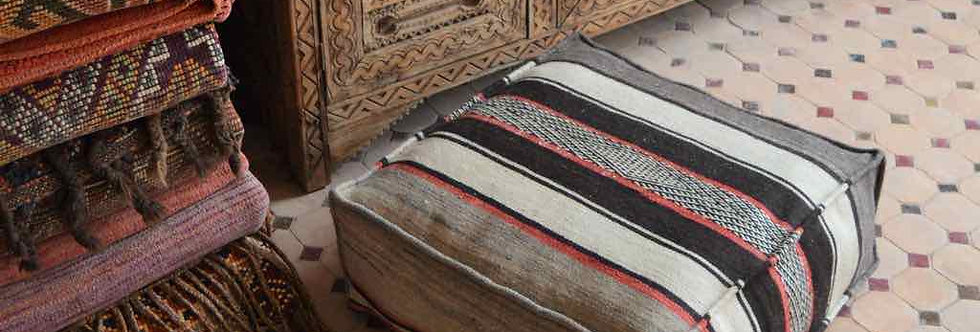 Handwoven Berber Zanafi Floor Pillow - Red Stripes