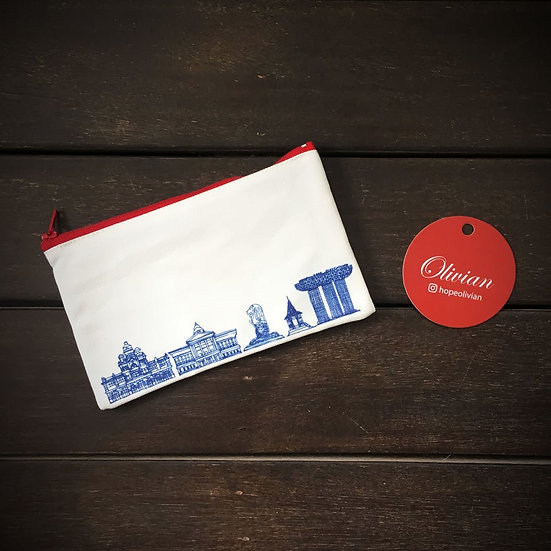 Pouch with modern Singapore landmarks in blue print.