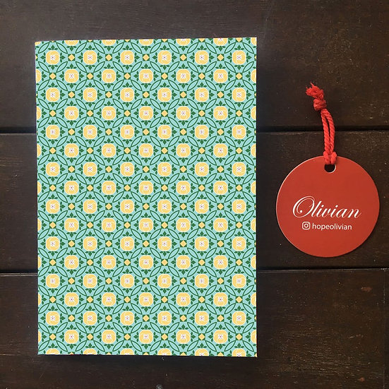 Green Peranakan tile (PT12) Saddle Staple Notebook
