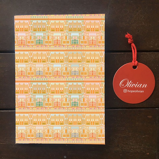 Peranakan houses (Orange) Saddle Stapled Notebook