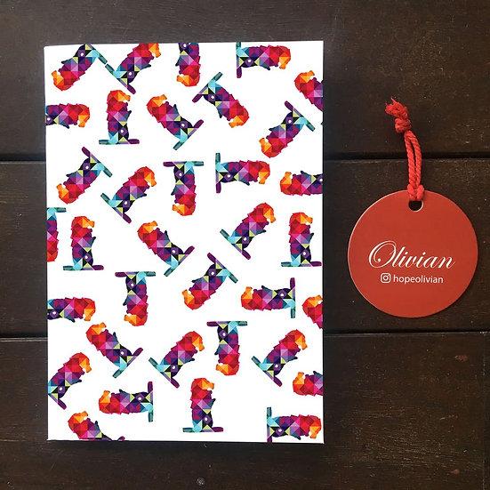 Colourful tiles merlion Saddle Stapled Notebook