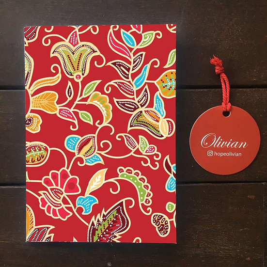 Red Batik Print Saddle stapled notebook