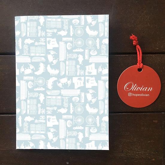 Singapore icons (Gray) Saddle Stapled Notebook