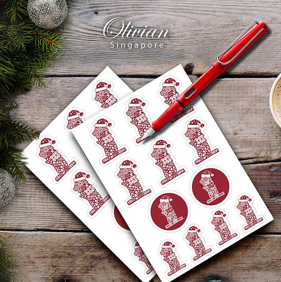 Merlion Christmas stickers
