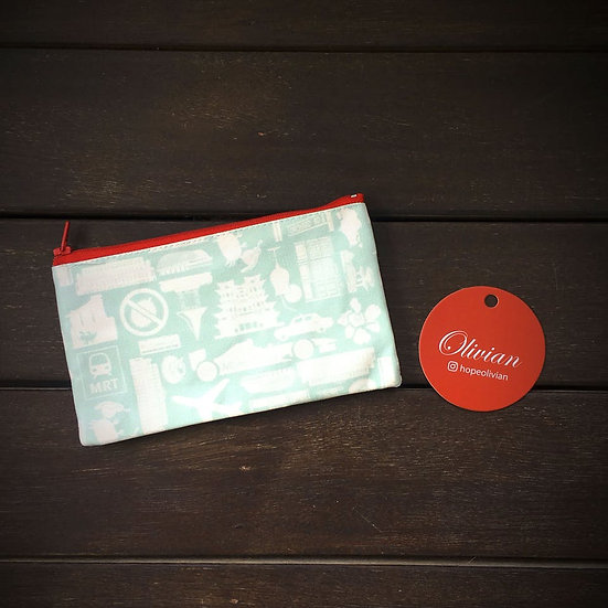 Pouch with Singapore icons in white on grey print