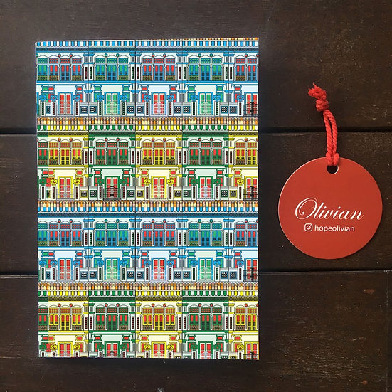 Peranakan houses (Green) Saddle Stapled Notebook