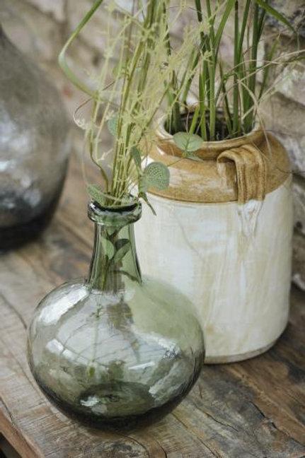 Glasballon grünes Glas mundgeblasen