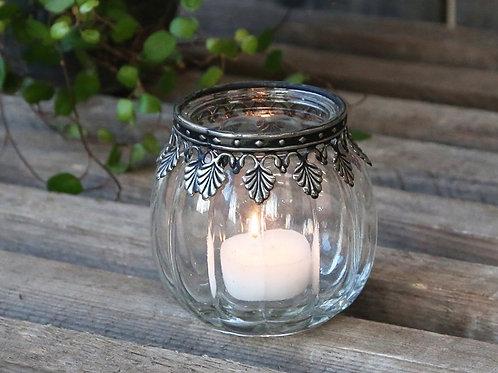 Teelichthalter m. silber Dekor Glas