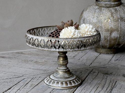 Dekorative Schale mit Fuß antique champagner