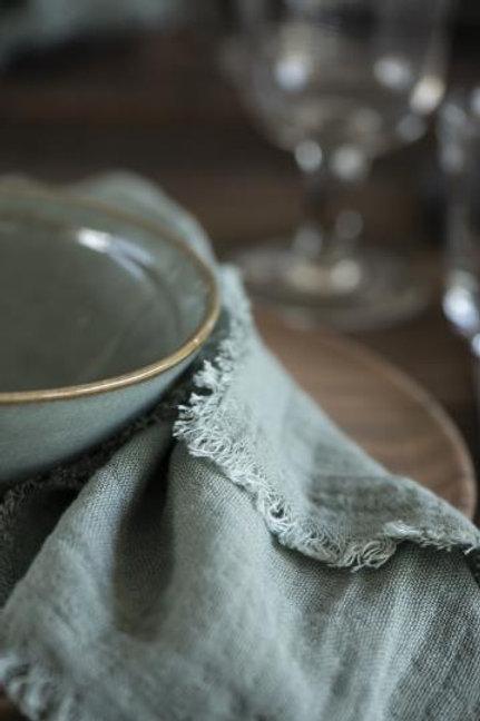 Stoffserviette doppelt gewebt dusty chalk green