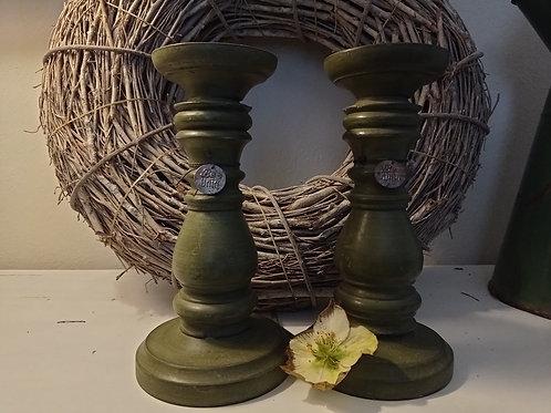 Kerzenhalter Holz grün