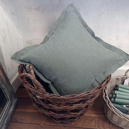 Kissenbezug mit Steppnaht und Kante dusty chalk
