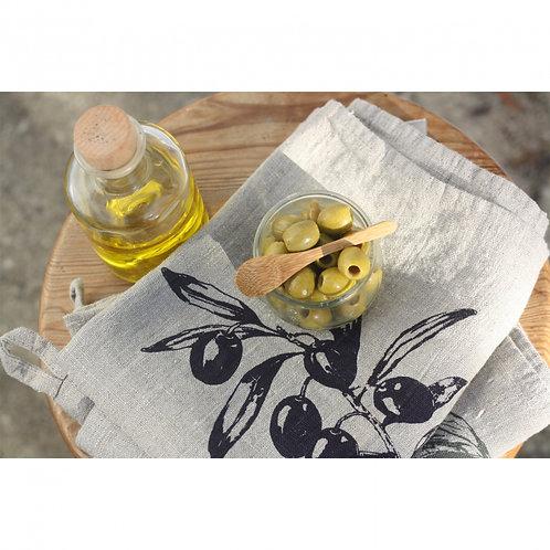 Geschirrtuch Leinen Natur Olive (Frohstoff)