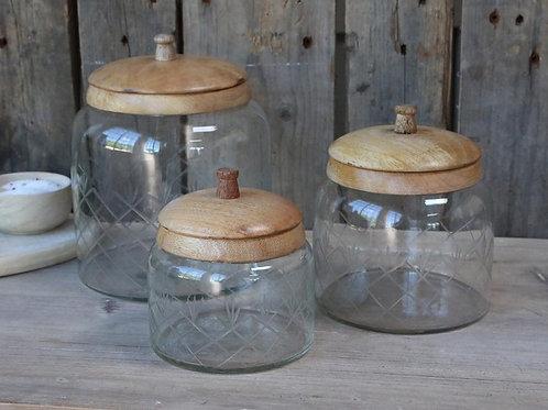 Glas Behälter mit Mangoholz-Deckel 140 cl