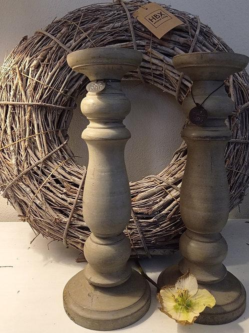 Kerzenhalter Holz beige