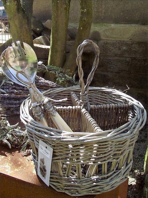 Französischer Korb geflochten mit 4 Fächern natur