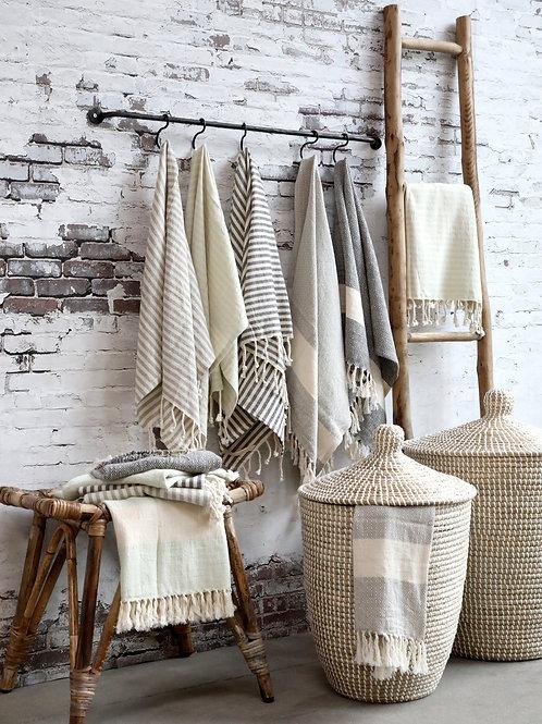 Hamam Handtuch mit Muster grau - Éternel