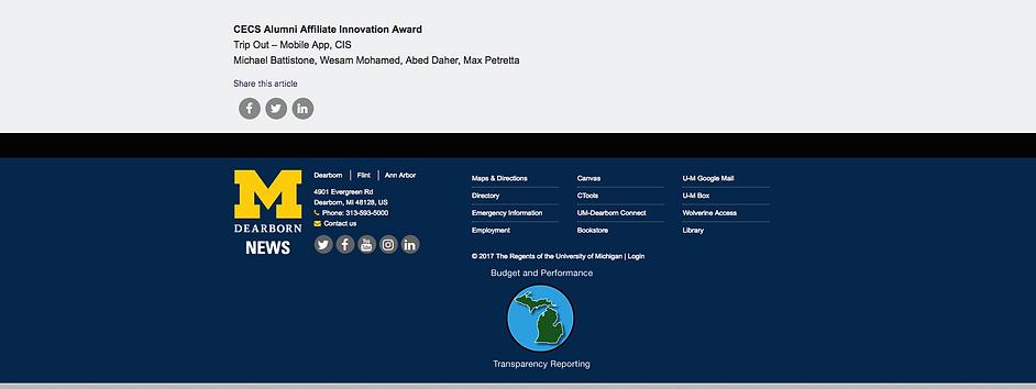 University of Michigan, CECS Alumni Affiliate Innovation Award