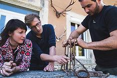 Justine Bonnery, Nicolas Pousson-Ribis et Pierre Mourières sur le tournage de La Popote à pépé #3 à Chalabre (Aude) sur la chasse au sanglier.