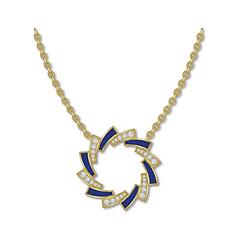 Pendant : diamond & lapis lazuli