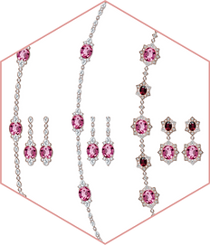 Rubellite, pink sapphire & diamond necklaces + earrings