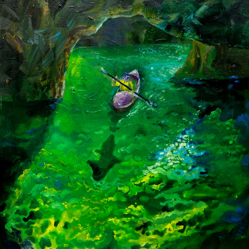 Kayaking in a Emerald Cave