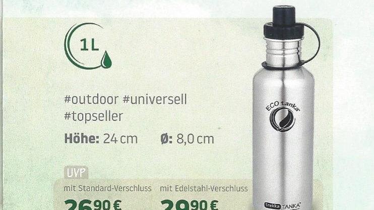 Edelstahlflasche trekkaTanka, 1 Liter