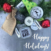 Lip Balm, lotion bars, puppy paw balm holiday layout
