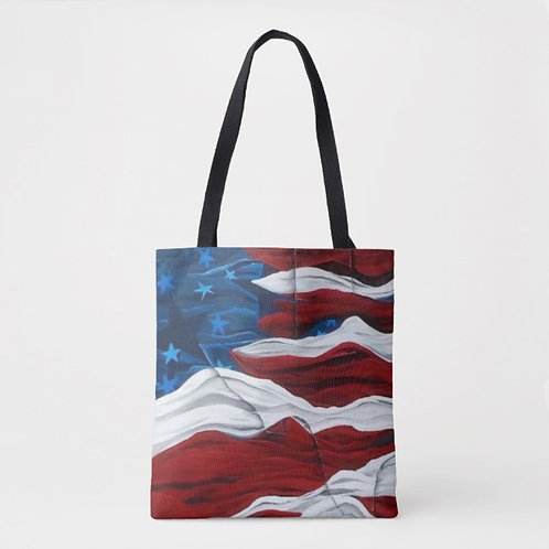 American Flag Canvas Tote