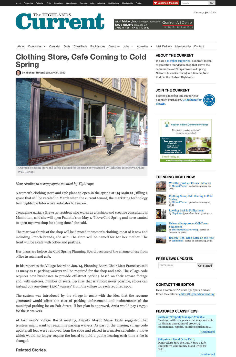 Clothing Store, Cafe coming to Cold Spring