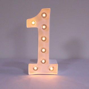 White Number 1 light