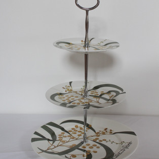 Three tiered high tea plate stand (native floral)