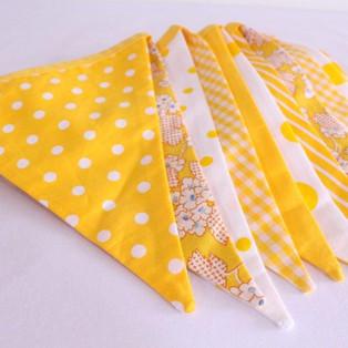 Yellow and White Fabric Bunting.