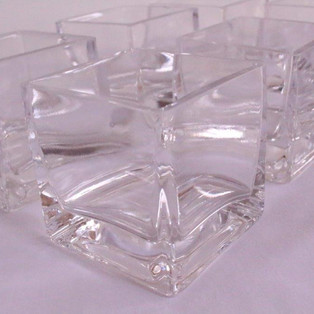 Small square glass vases