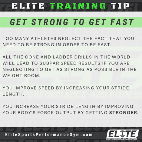 Elite Coaching 🔑  TRAINING TIP: Get Strong to Get Fast
