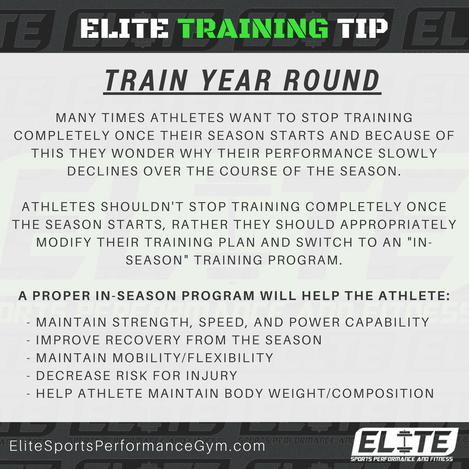 Elite Coaching 🔑  TRAINING TIP: TRAIN YEAR ROUND