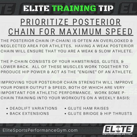 Elite Coaching 🔑  TRAINING TIP: PRIORITIZE POSTERIOR CHAIN FOR MAXIMUM SPEED