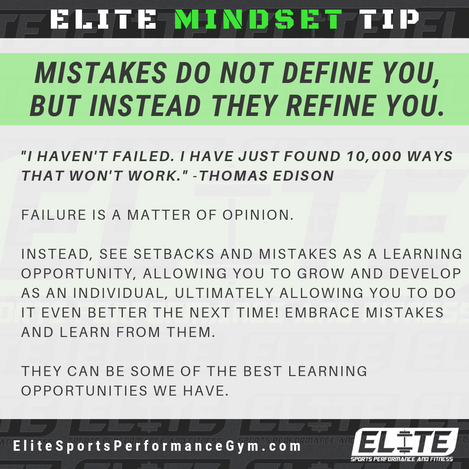 Elite Coaching 🔑  MINDSET TIP: Mistakes do not define you, but instead refine you