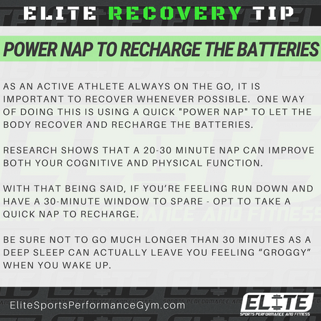 Elite Coaching 🔑  RECOVERY TIP: Power Nap to Recharge the Batteries